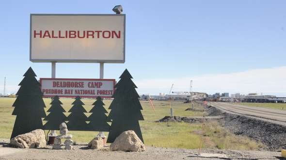 Humorous Halliburton 'Prudhoe Bay National Forest' sign