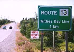Route 13 Witless Bay Line, 1 km ahead