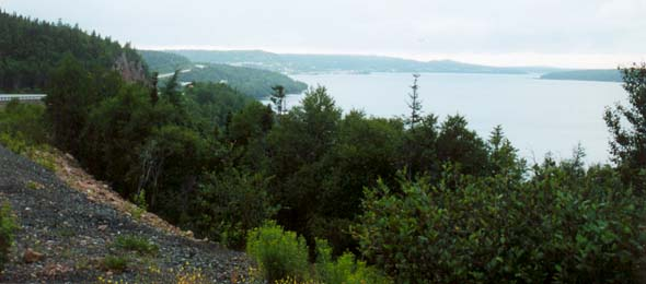 Northwest Arm of Trinity Bay, with Trans-Canada Highway on the left