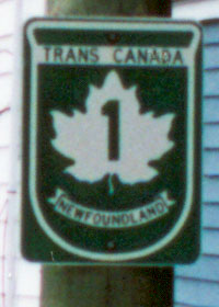 Route marker for Trans-Canada Highway in Newfoundland