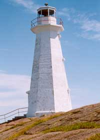 Plain white new lighthouse at Cape Spear