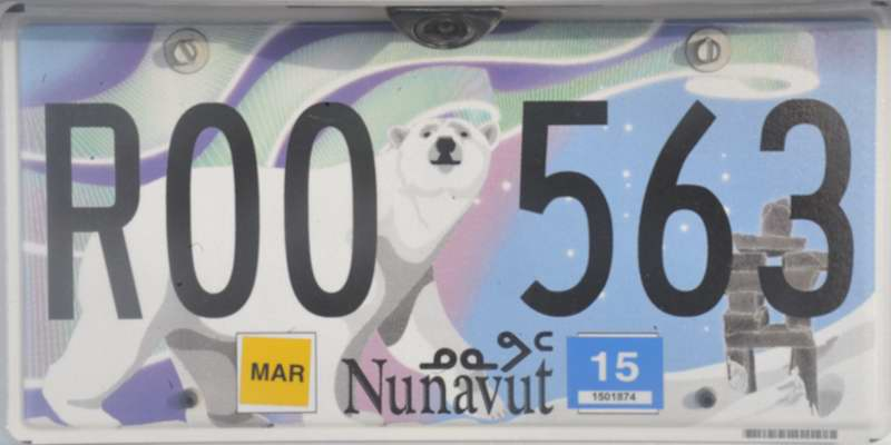 This plate on the SUV I rented in Iqaluit shows the current style used in Nunavut Territory. AIUI when the territory was formed in 1999 ... & Nunavut and NWT license plates new and old
