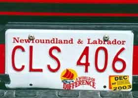 Newfoundland/Labrador licence plate variation -- A World of Difference