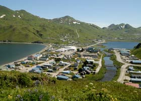 Unalaska town center, from Haystack Hill; two crossings of Iliuliuk River at 5th Street, and pedestrian bridge at 3rd Street