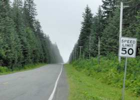 Paved road between Yakutat and its airport, posted here for 50mph